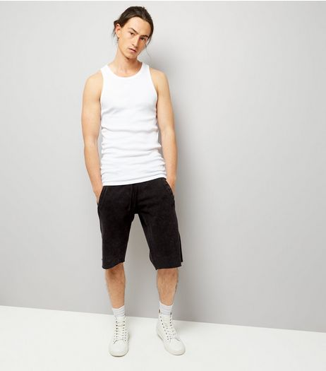 Black Acid Wash Drop Crotch Shorts | New Look
