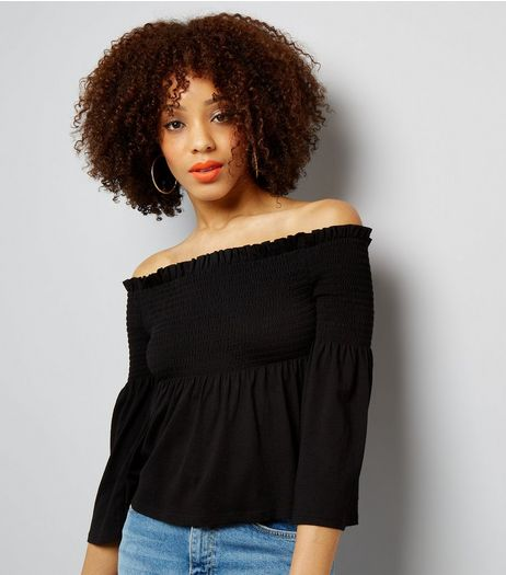 Black Shirred Bardot Neck Top | New Look