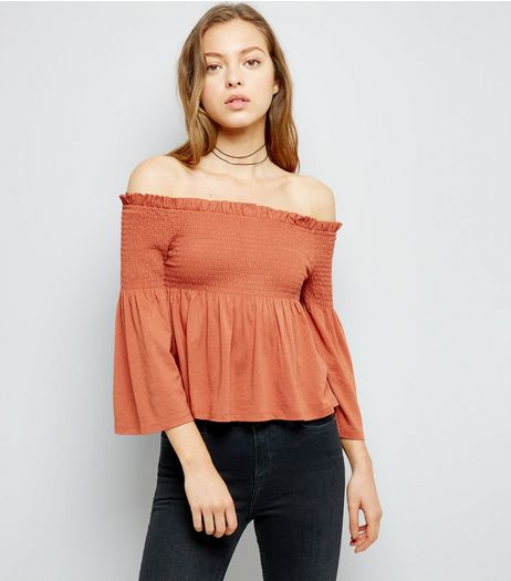 Light Brown Shirred Bardot Neck 3/4 Sleeve Top  | New Look
