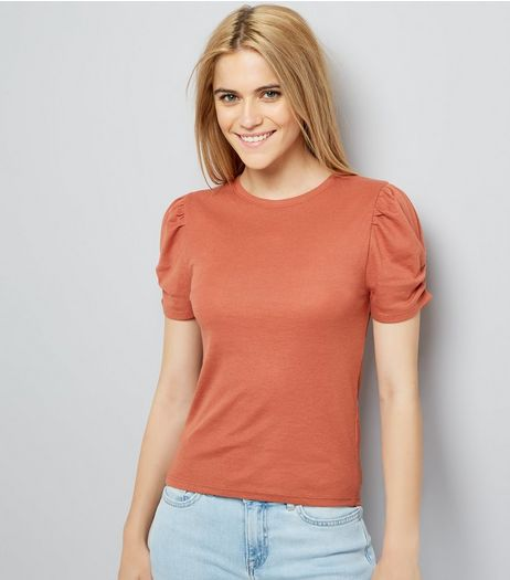 Light Brown Ruched Sleeve T-Shirt | New Look