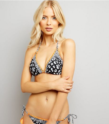 Black Animal Print Halter Neck Bikini Top  | New Look