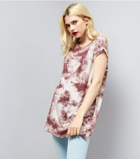 Red Tie Dye Longline T-Shirt | New Look