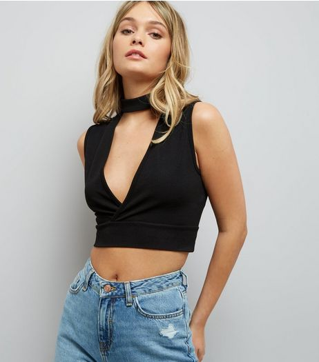 Black Choker Neck V Neck Crop Top | New Look