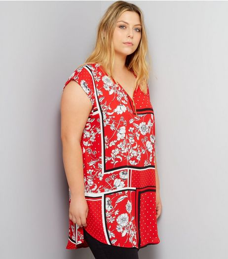 Curves Red Floral Print Zip Front Tunic | New Look