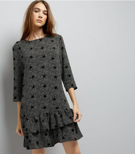 JDY Black Frill Hem Strar Print Dress | New Look