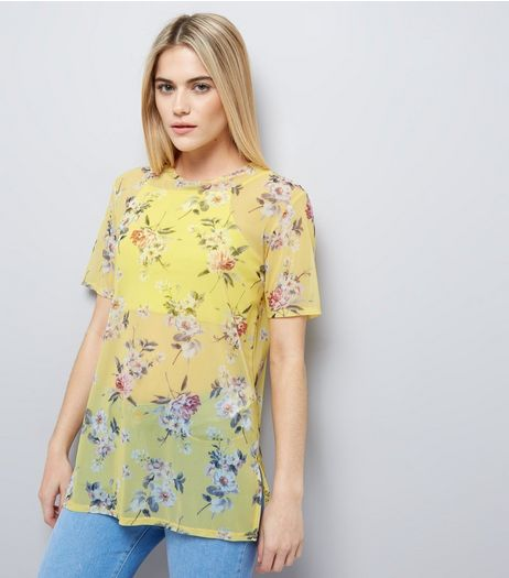 Yellow Floral Print Mesh T-Shirt | New Look