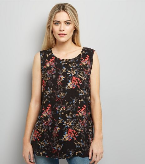 JDY Black Floral Print Cross Strap Sleeveless Top | New Look