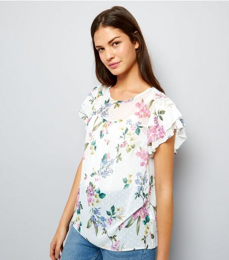 White Floral Print Layered Frill Sleeve Top | New Look