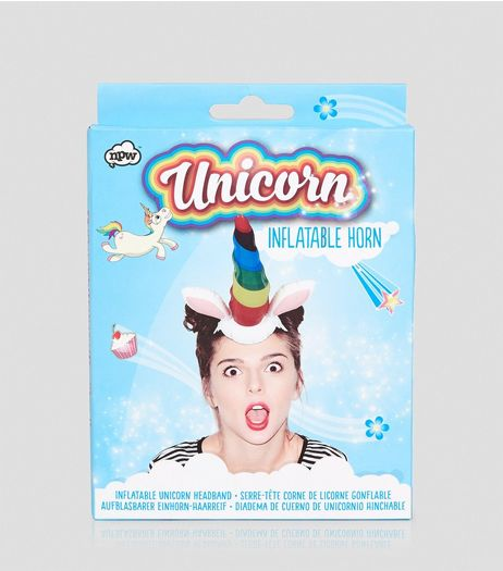 Multicoloured Inflatable Unicorn Headband  | New Look