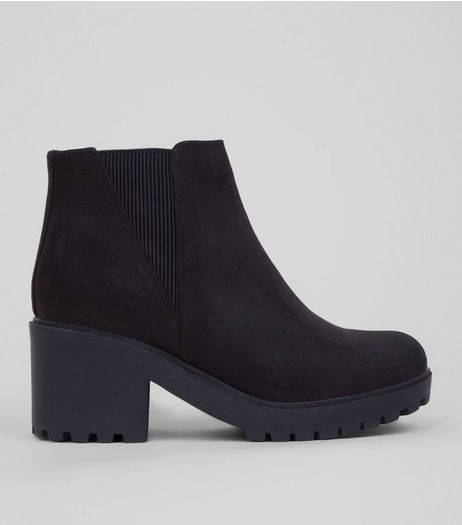 Teens Black Suedette Chunky Chelsea Boots | New Look
