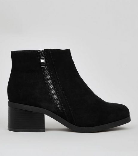 Teens Black Suedette Zip Side Boots | New Look