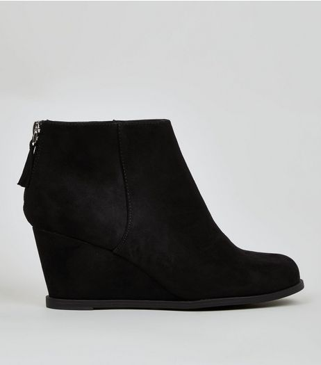 Teens Black Suedette Wedge Heel Boots | New Look