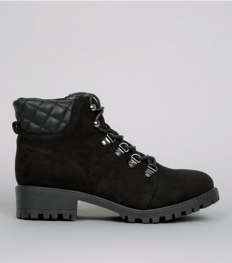 Teens Black Quilted Panel Worker Boots | New Look