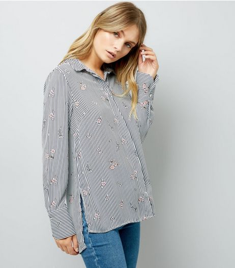 Navy Stripe Ditsy Floral Print Shirt | New Look