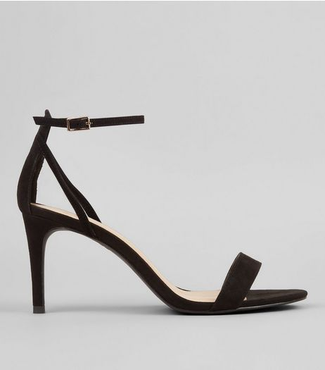 Wide Fit Black Heeled Sandals | New Look