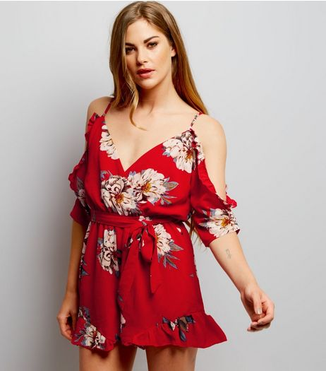 Parisian Red Floral Print Wrap Front Frill Hem Playsuit | New Look