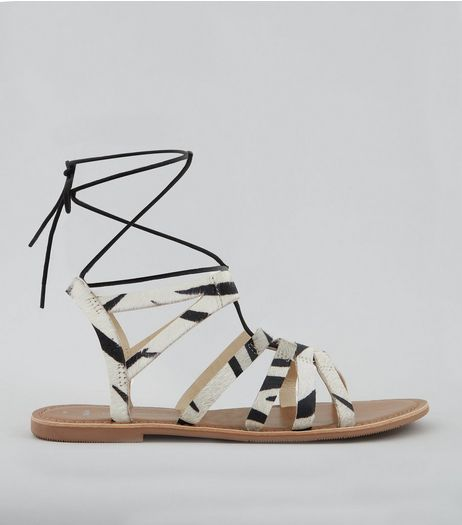 Wide Fit White Textured Leather Ghillie Sandals | New Look