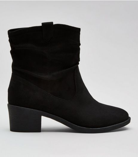 Wide Fit Black Suedette Slouch Boots | New Look