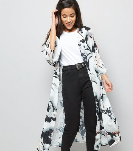 Black Abstract Print Belted Maxi Kimono | New Look