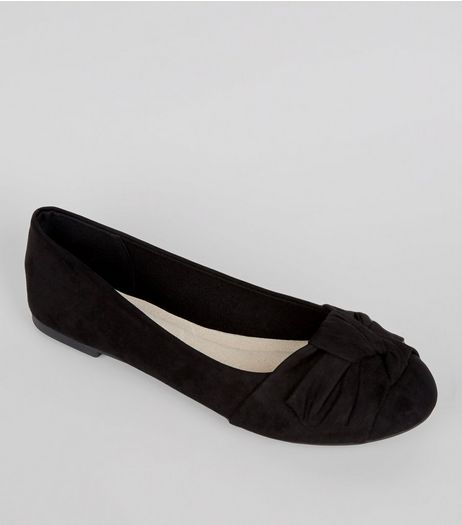Wide Fit Comfort Black Bow Knot Ballerina Pumps | New Look