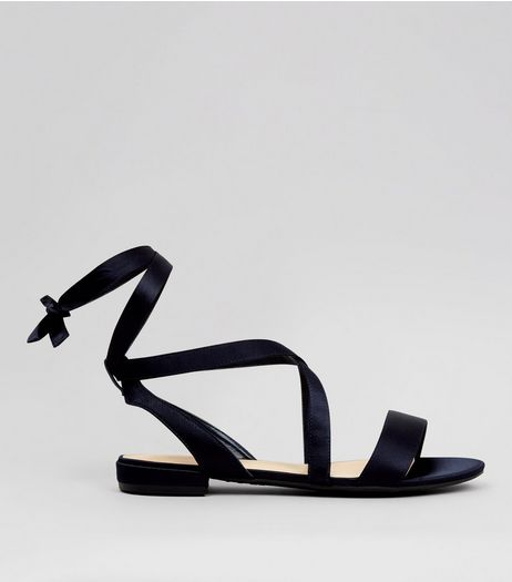 Wide Fit Black Ankle Tie Sandals | New Look