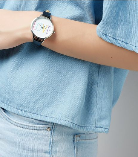 Black Love Dial Watch  | New Look