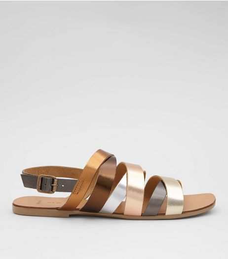 Wide Fit Gold Metallic Multi Strap Sandals | New Look