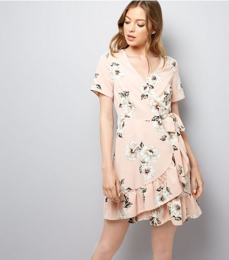 Pink Floral Print Wrap Front Skater Dress | New Look