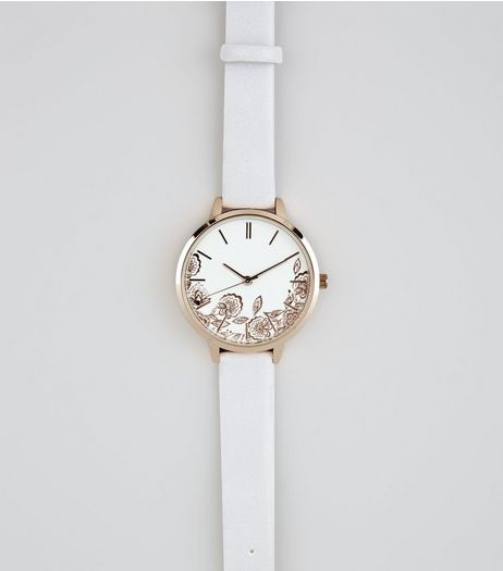 Grey Floral Metallic Watch  | New Look