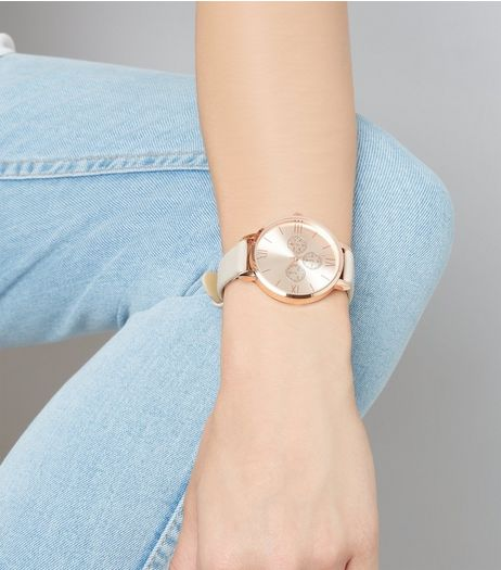 Light Brown Metallic Trim Watch  | New Look