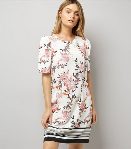 White Floral Print Stripe Hem Tunic Dress | New Look
