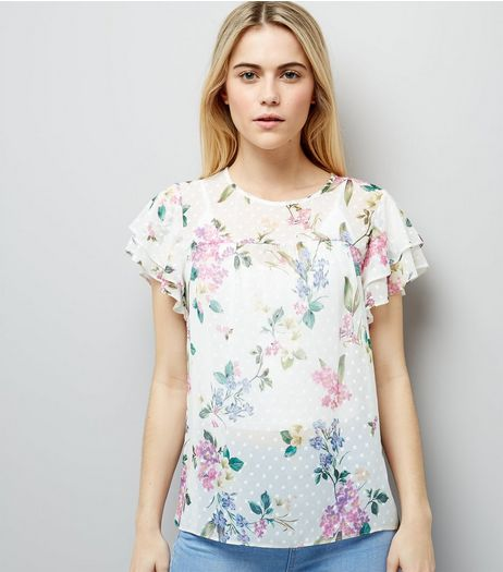 White Tropical Print Frill Sleeve Top | New Look