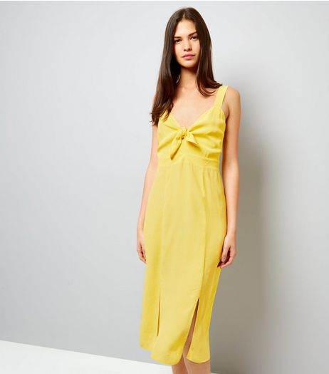 Yellow Bow Front Split Front Midi Dress | New Look