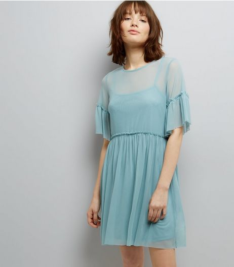 Pale Blue Mesh Skater Dress  | New Look