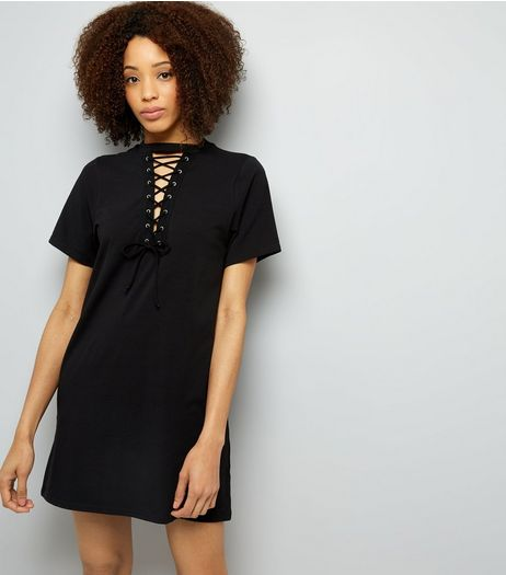 Black Choker Neck Lattice Front Tunic | New Look