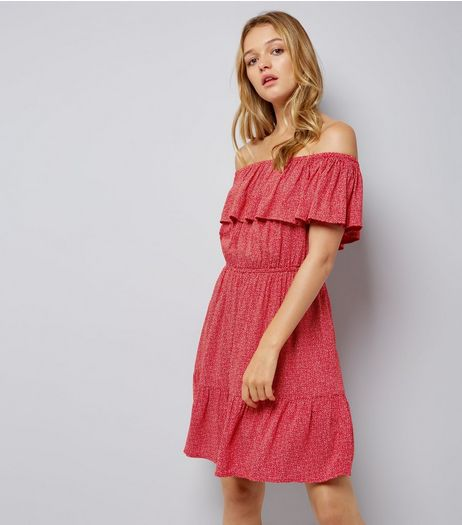 Red Spot Print Frill Trim Bardot Neck Dress | New Look