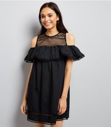 Black Crochet Yoke Cold Shoulder Dress | New Look