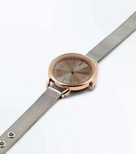 Silver Two Tone Mesh Strap Diamanté Watch | New Look
