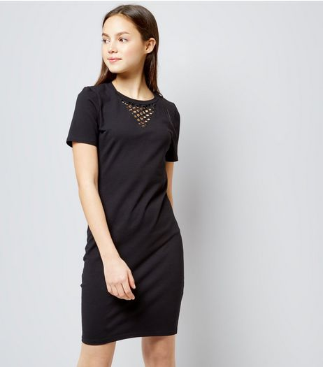 Teens Black Mesh Panel Bodycon Dress | New Look