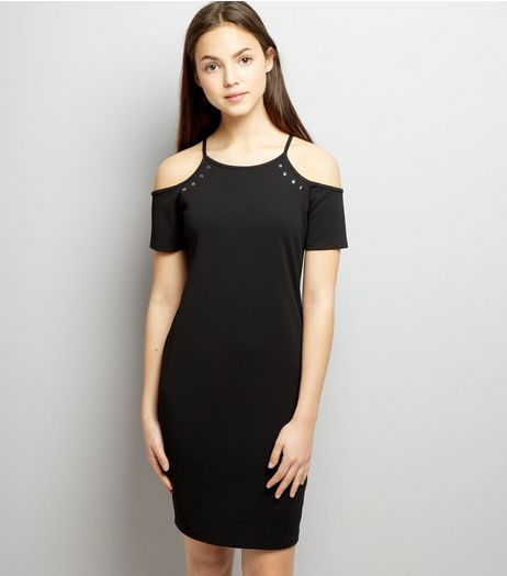 Teens Black Studded Cold Shoulder Bodycon Dress | New Look