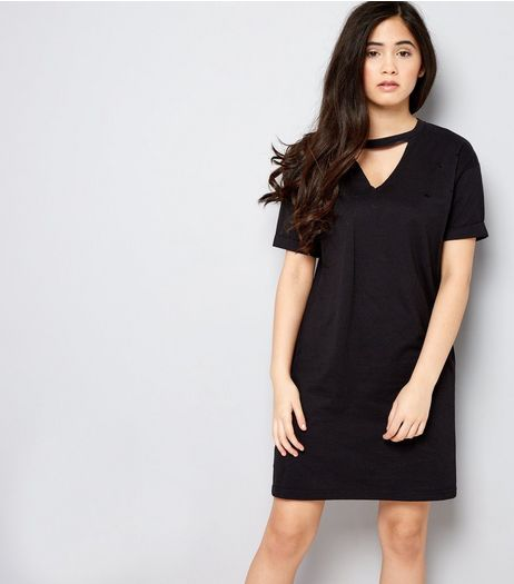 Teens Black Choker Neck T-Shirt Dress | New Look