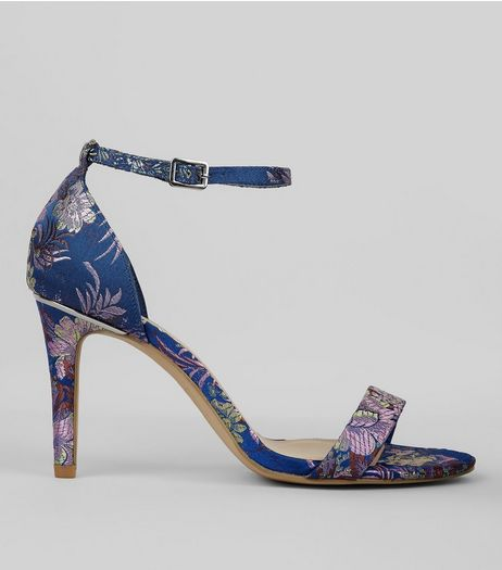 Wide Fit Blue Brocade Heeled Sandals  | New Look