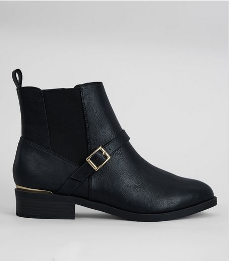 Wide Fit Black Buckle Ankle Boots | New Look
