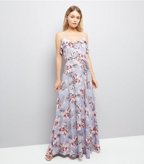 Lilac Floral Print Frill Trim Maxi Dress | New Look
