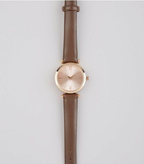 Brown Metallic Face Watch | New Look
