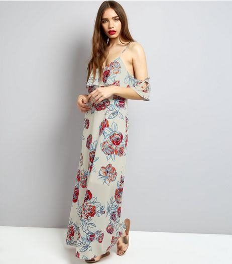 Urban Bliss Stone Rose Print Cold Shoulder Maxi Dress | New Look