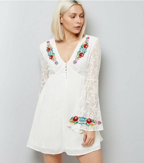 Urban Bliss White Floral Embroidered Swing Dress | New Look