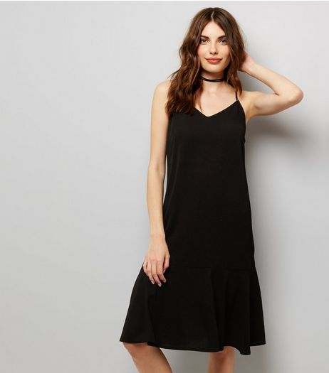 Black Peplum Hem Midi Slip Dress | New Look