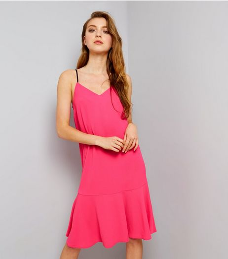 Pink Peplum Hem Midi Slip Dress | New Look