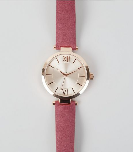 Plum Suedette T-Bar Strap Watch | New Look